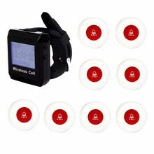 1 Watch Receiver+8 Call Button 433MHz Wireless Calling Paging System Guest Service Pager Restaurant Equipments F3258
