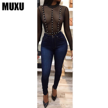 Buy MUXU summer sexy black jumpsuit long sleeve mesh transparent lace ladies bodysuit body bodysuits jumpsuits womens clothing 2018 for $20.35 in AliExpress store