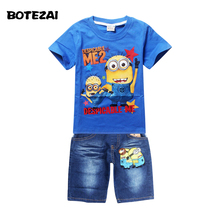 Retail Children's suit despicable me 2 minion 2016 new boys Clothing Set Kids t-shirt+jeans cartoon clothes Sports suit