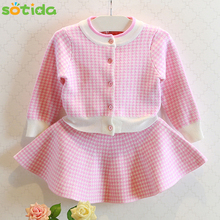 Sotida Autumn Girls Dresses 2016 New Houndstooth Knitted Children Suits Long Sleeve Plaid Jackets+Skits 2Pcs Fashion Kids Suits