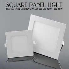 Ultra Thin Led Panel Downlight 3w 4w 6w 9w 12w 15w 18w Square LED Ceiling Recessed Light AC85-265V LED Panel Light SMD2835