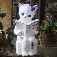 24*39 Creative Wedding Gift ceramic ornaments artificial crafts cute cat book home hotel decor  table bookshelf TV ark saloon