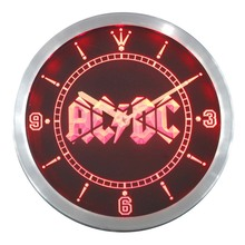 nc0148 ACDC AC/DC Band Music Bar Club Neon Sign LED Wall Clock