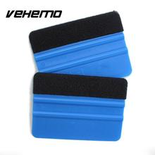 Vehemo 2Pcs Squeegee Car Film Tool Vinyl Blue Plastic Scraper Squeegee With Soft Felt Edge Window Glass Decal Applicator