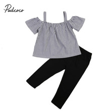 2pcs Little Ladies Summer Children Sets Lace Up Tops Summer Striped T-shirt + Solid Color Pants Cotton Kids Baby Girls Outfits(China)