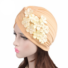 Floral Beaded Flower Turban Elegant Women Muslim Style Beanie Head wrap Chemo Cap for Hair loss Lady Headwrap