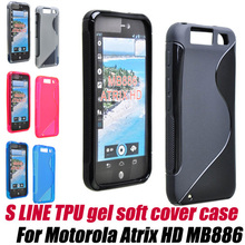 antislip shockproof S Line soft TPU Gel Skin Cover Case for Motorola Droid Atrix HD MB886(China)