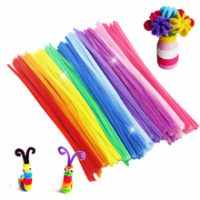 100pcs Montessori Building Block Chenille Sticks Craft Children Kid Pipe Cleaner Stems Craft Educational Toy(China)