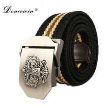Russian new fashion Real Solid brand Belt for Men Cinto men's Fashion Pin Buckle Canvas cowboy knitted Strap Casual Striped belt