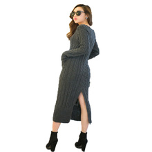 Retro Floor Length  Dresses Female Winter knitted dress long sleeve after the split 4 colors Slim thickening Sweater Dress