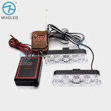 Remote Controller Flash Strobe led car DRL Police day Light 12V 2x4LED Auto car-styling Flasher Firemen Ambulance Warning lights - MIXC TRENDS Official Store store