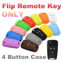 Silicone 4 Button Flip Remote Key Case Fob Cover Holder For Chevrolet /GM /Colored 66.5mm x 38mm x 17.5mm(China)