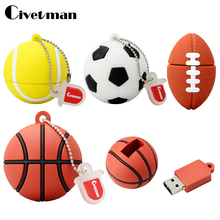 Civetman Pendrive Football USB Stick 64GB 8GB 16GB 32GB Cartoon basketball model USB 2.0 Flash Memory tennis Pen Drive