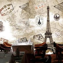 Custom Any size 3D Wall Mural Wallpapers,Modern Paris Eiffel Tower Background Living Room&Bedroom Photo Vintage Murals Wallpaper