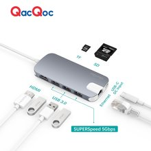 QacQoc GN30H Aluminium alloy USB C Hub with 4K Output Card Reader 3 USB 3.0 Ports LAN Port Type-C Charging port for Macbook 12""