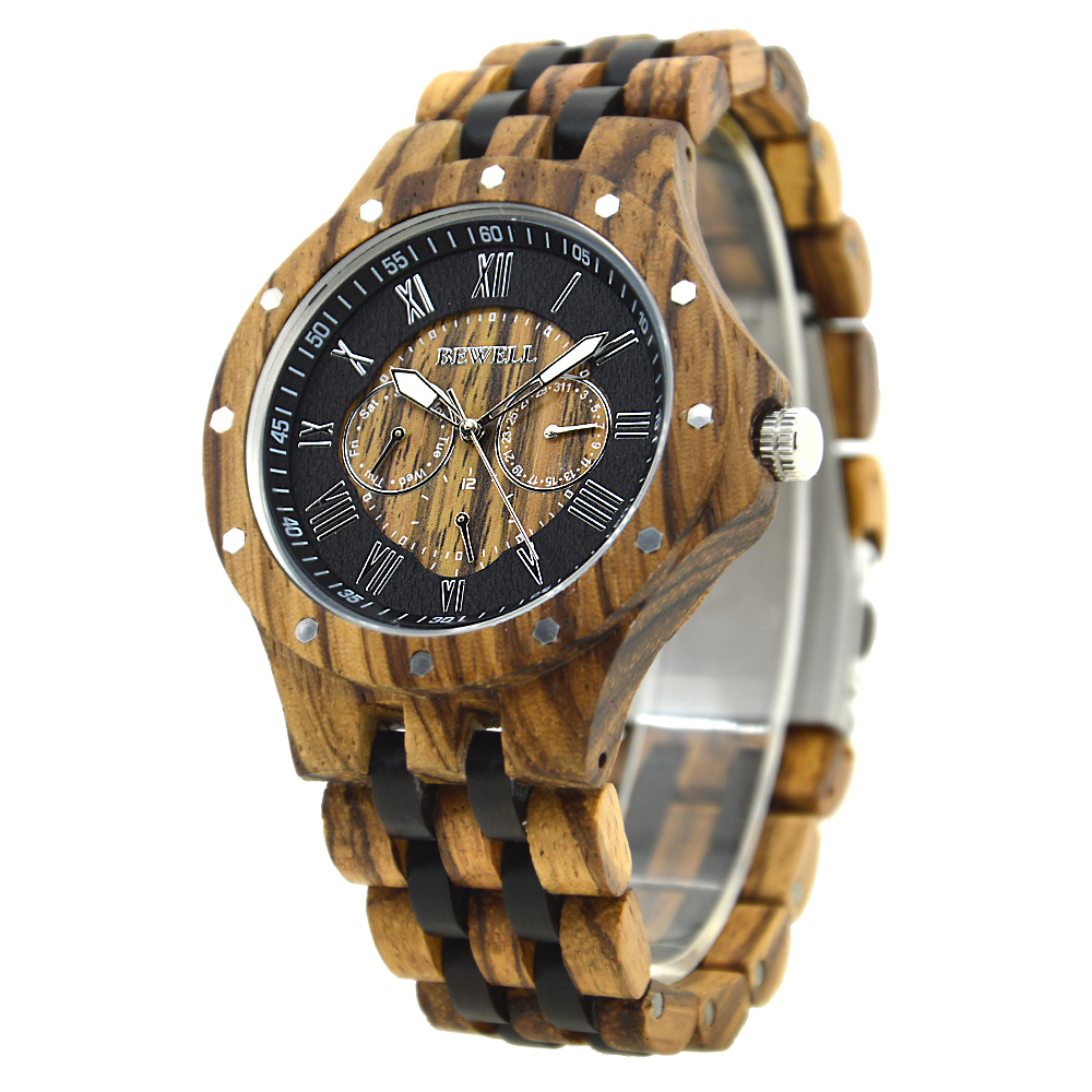 BEWELL Men Wooden Watches Six hands Luminous Roman Numerals Clock Men Fashion and Casual Watches Reloj Hombre as Gift 116C<br>