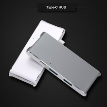 Type-C USB 3.0 Combo Hub Aluminum Multi-Port Adapter For MacBook SD/Micro Card Reader(China)