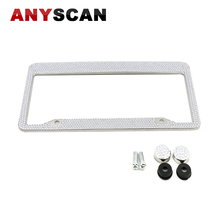 Hot Sale 2017 High Quality Silver Diamond Bling Glitter Crystal Rhinestone Metal US Car License Plate Frame Free Shipping