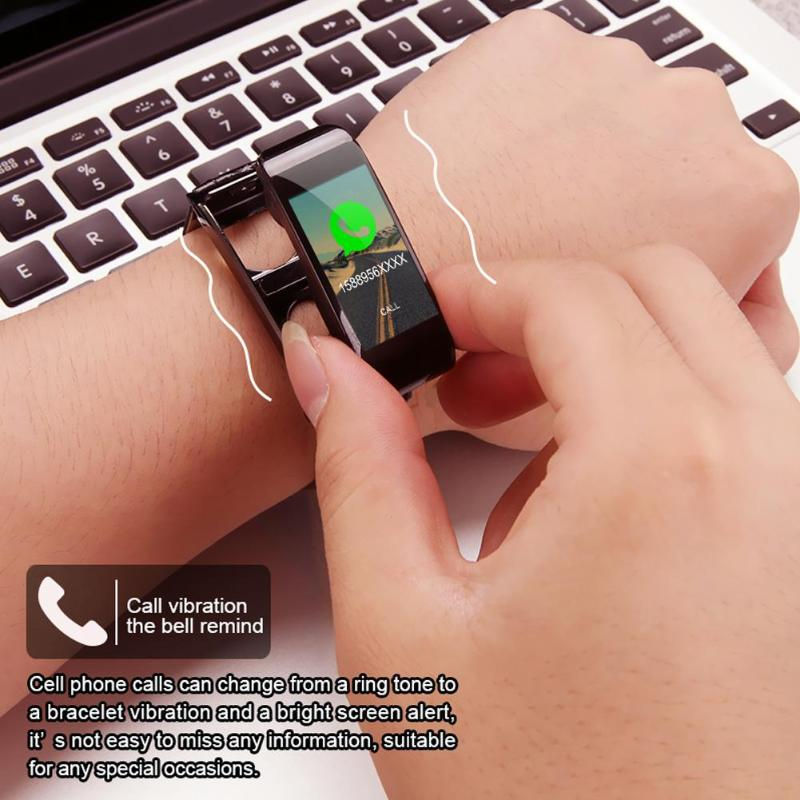 ALLOYSEED Bluetooth Smart Bracelet Watch Handsfree Call Music Player Sport Wristband Headset Fitness Tracker Heart Rate Monitor 6