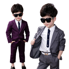 Baby Blazer Suit Leisure Boy Costums 2-10 Years child Prom suit Wedding Flower Boy Dress Shirt Pant Coat 3Pcs Sets Purple/gray
