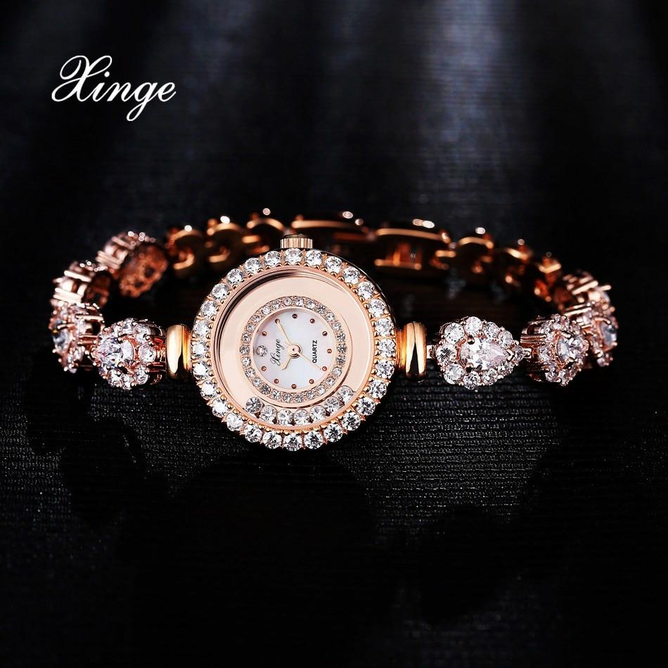 Xinge Women Luxury Fashion Zircon Bracelet Watch Women Casual Crystal Dress Wrist Watch Women Import Movement Metal Quartz Watch<br>