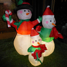 Large Outdoor Christmas Inflatable Snowman Decorations Family LED Lighted Christmas Yard Art Decoration Snowman Family KC1268