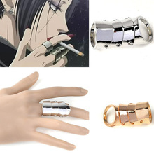 Anime Cosplay Scroll Huge Courage Force Hinged Joint Knight Armor Knuckle Joint Hinged Double Finger Ring Unisex Party Jewelry