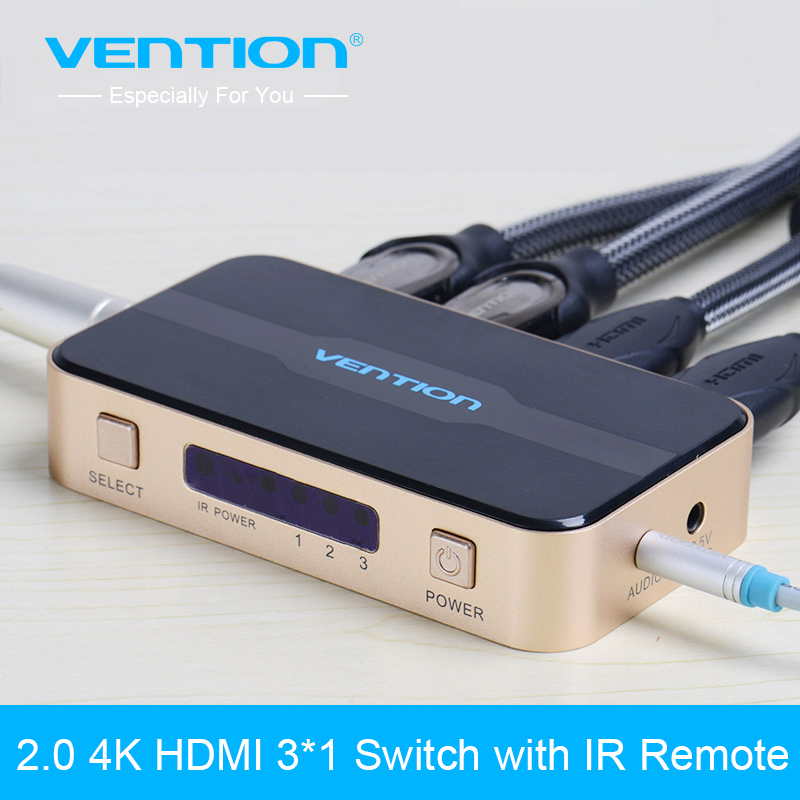 Vention 3 In 1 Out HDMI Switch Switcher HDMI Splitter HDMI Port for PS3 PS4 for Xbox 360 PC DV HDTV 1080P 3 Input to 1 Output<br>