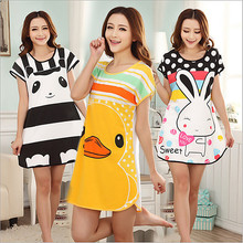 Hot sales! Girls Thin Long Sleepshirts Spring Summer Nightdress Cartoon Animal Sleep Dress Women Cotton Nightgown Sleepwear H067(China)