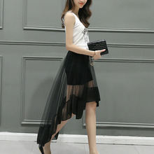 Summer Women Solid Skirts Chiffon NETTING Patchwork Asymmetrical Skirts Lolita Stylish Ladies Skirt Elegant Long Skirt(China)