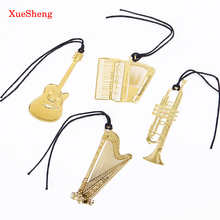 10 PCS Cute Gold Metal Bookmark Fashion Music Piano Guitar Bookmark for Book Creative Gift Korean Stationery
