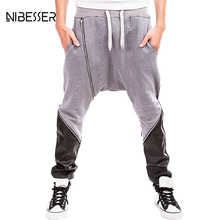 NIBESSER Brand Autumn Men Harem Pants Color Stitching Patchwork Man Pants Casual Fitness Hiphop Streetwear Male Leather Clothes