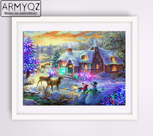ARMYQZ 5D Diy Diamond Painting Cross Stitch Full Diamond Embroidery Mosaic Landscape Winter Scenery Pattern Christmas FJ135(China)