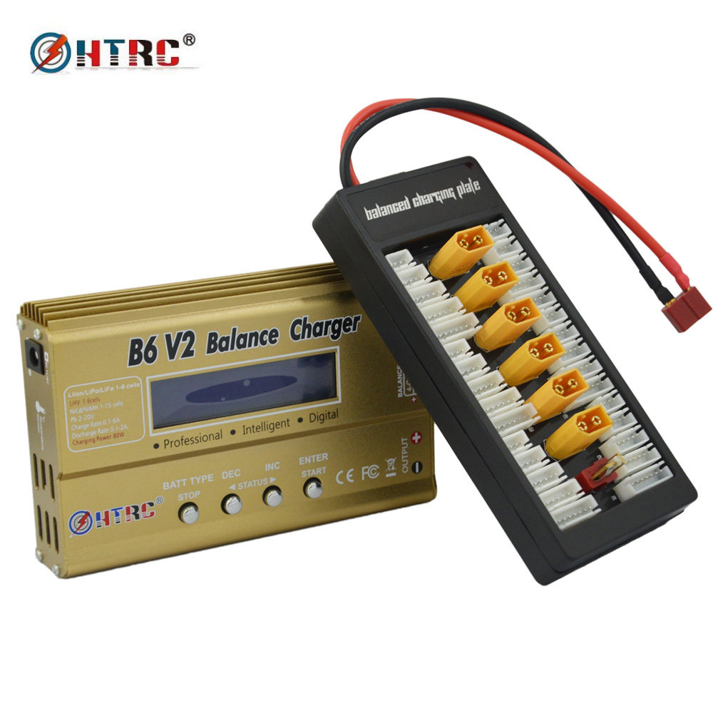 HTRC 80W IMAX B6 V2 Balance Charger with XT60 Parallel Charging Board 2-6s Lipo Charge Plate<br>