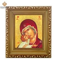 Factory outlets cheap wood photo frame lcon of virgin mary and jesus baby religious orthodox catholic byzantine period art(China)