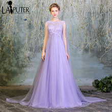 2017 robe de soiree courte Lilac Purple Tulle Pregnant Russia Romantic Elegant Cheap Tulle Lace Plus Size Evening Prom Dress(China)