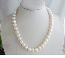 "WOW 16""12-14MM WHITE BAROQUE FRESHWATER CULTURED PEARL NECKLACE 50CM (note / flawed)(China)"
