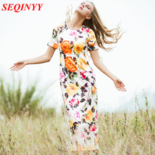 Luxury Dress 2017 Summer Yellow Rose Flowers Print Beautiful Dimonds Button Women's New Split Topshop Novelty Mid Dress