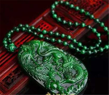 Genuine natural Burmese stone pendant carved green dragon and phoenix pendants men and women jewelry JADES jewelry beads