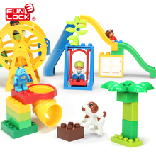 Funlock Duplo Funny Playground Toys Blocks Set with Ferri Wheels Slide Swing Ladder Kids Creative Educational Building Toys Game(China)