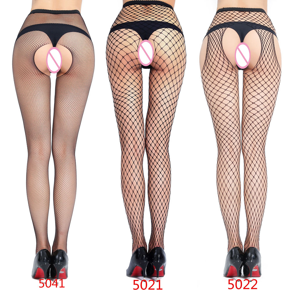 Sexy Lingerie Hot Erotic Plus Size pantyhose mesh net single open pantyhose before and after pantyhose three-hole mesh pantyhose(China)