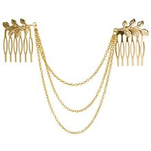New Style Women Gold Leaves 3-layers Headwear Chains Double Hair Comb Hair Claw Hair Clips Hair Jewelry