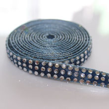10yards 3 rows Navy Blue Montana Velvet Diamante Ribbon Clear Crystal Rhinestone banding Gold Edge For DIY Browbands Costume