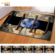 HUGSIDEA Cool Entrance Mat 3D Animal Wolf Lion Floor Carpet for Living Room Bedroom Tapete 40*60cm Soft Rubber Doormat Tapis