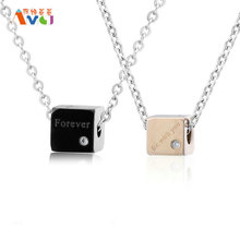 AMGJdk Titanium Steel Square Pendant Couple Necklace Women Men Forever Love Inlay CZ Solid Jewelry Christmas Gift A Piece A028(China)
