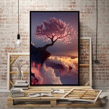 Hot craft scenery tree 5D Diamond Embroidery painting canvas sticker round stone cross stitch living Decorative picture(China)