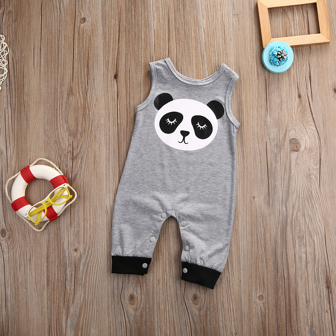 2017 Newborn Infant Baby Boy Girl Clothes Summer Grey Sleeveless Cartoon Panda Cotton Bodysuit Baby Clothes Sunsuit <br><br>Aliexpress
