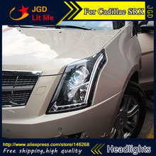 Free shipping ! Car styling LED HID Rio LED headlights Head Lamp case for Cadillac SRX 2010-2016 Bi-Xenon Lens low beam(China)