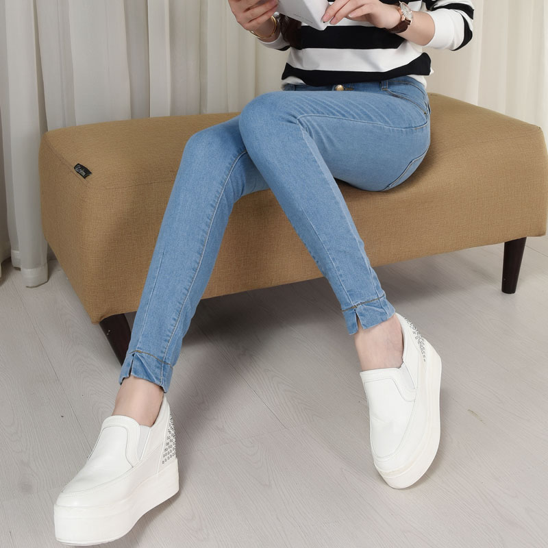 2017 Women Skinny Jeans Fall Fashion Pencil Pants Denim Strech Light Blue Jeans High Waist Plus Size Jeans TrousersОдежда и ак�е��уары<br><br><br>Aliexpress