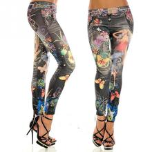 Fashion women colorful painted floral imitated jeans legging sexy female midwaist jeans free size